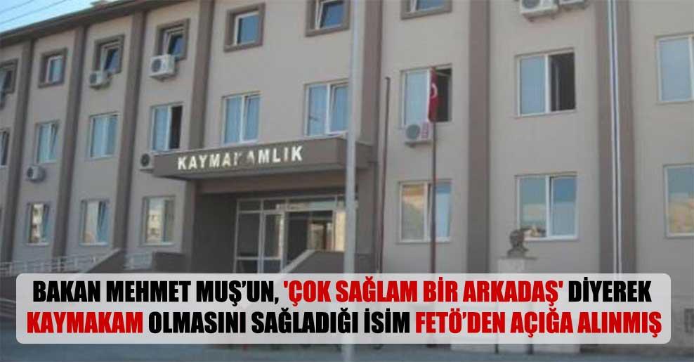 Bakan Mehmet Muş'un, 'Çok sağlam bir arkadaş' diyerek kaymakam olmasını sağladığı isim FETÖ'den açığa alınmış