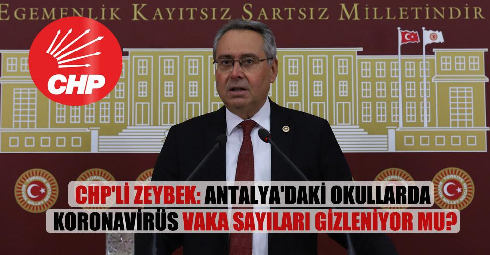CHP'li Zeybek: Antalya'daki okullarda koronavirüs vaka sayıları gizleniyor mu?