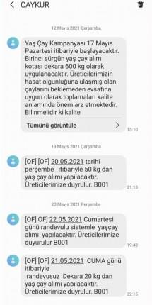ÇAYKUR sms