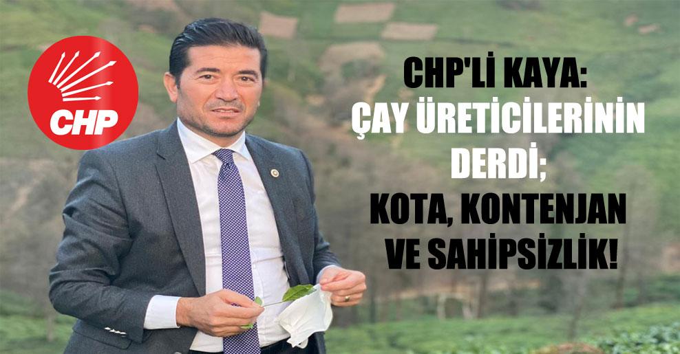 CHP'li Kaya: Çay üreticilerinin derdi; kota, kontenjan ve sahipsizlik!