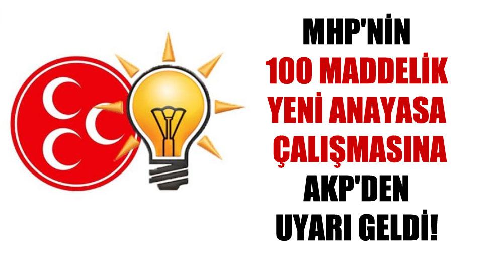 MHP'nin 100 maddelik yeni anayasa çalışmasına AKP'den uyarı geldi!