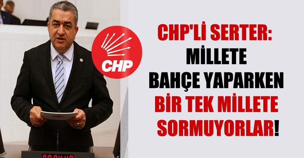 CHP'li Serter: Millete bahçe yaparken bir tek millete sormuyorlar!