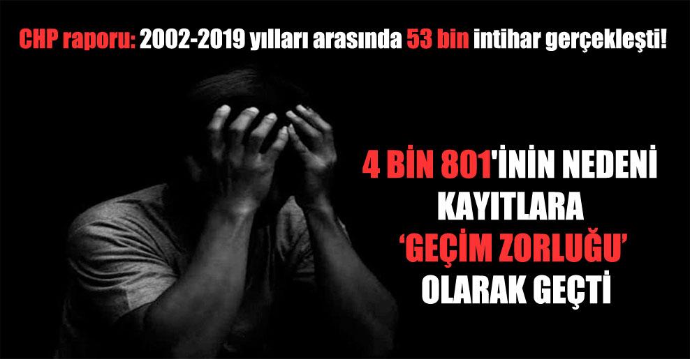 CHP raporu: 2002-2019 yılları arasında 53 bin intihar gerçekleşti!