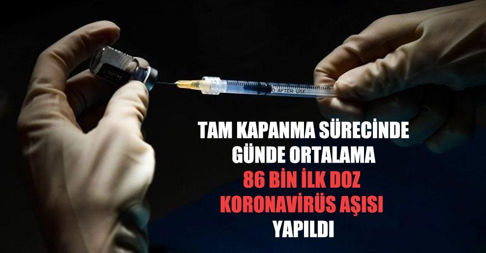 Tam kapanma sürecinde günde ortalama 86 bin ilk doz Koronavirüs aşısı yapıldı
