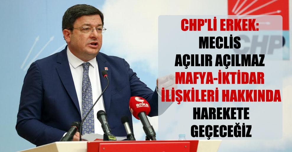 CHP'li Erkek: Meclis açılır açılmaz mafya-iktidar ilişkileri hakkında harekete geçeceğiz