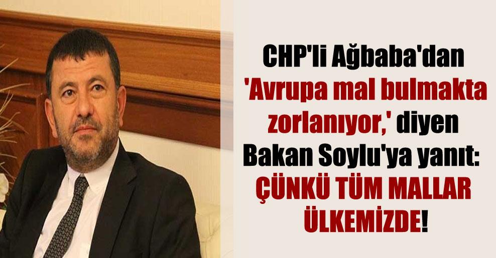 CHP'li Ağbaba'dan 'Avrupa mal bulmakta zorlanıyor,' diyen Bakan Soylu'ya yanıt: Çünkü tüm mallar ülkemizde!
