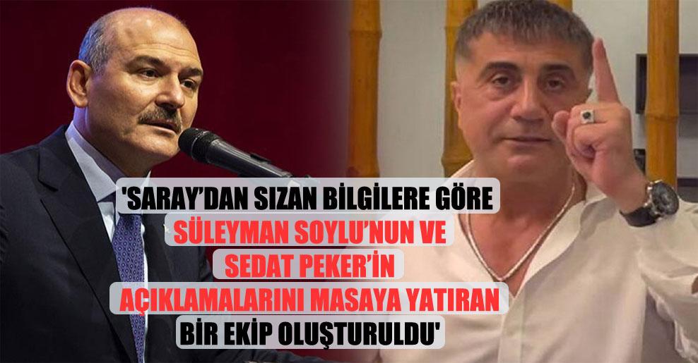 'Saray'dan sızan bilgilere göre Süleyman Soylu'nun ve Sedat Peker'in açıklamalarını masaya yatıran bir ekip oluşturuldu'