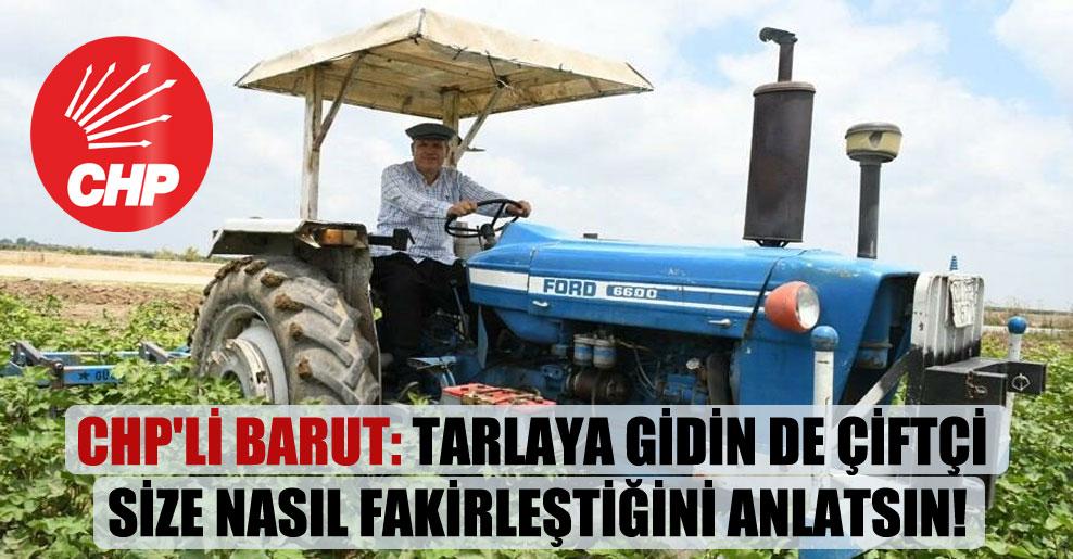 CHP'li Barut: Tarlaya gidin de çiftçi size nasıl fakirleştiğini anlatsın!