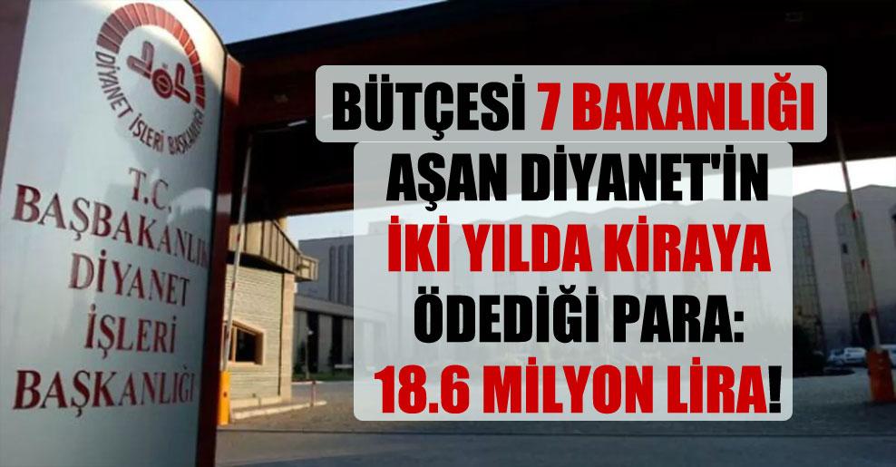 Bütçesi 7 bakanlığı aşan Diyanet'in iki yılda kiraya ödediği para: 18.6 milyon lira!