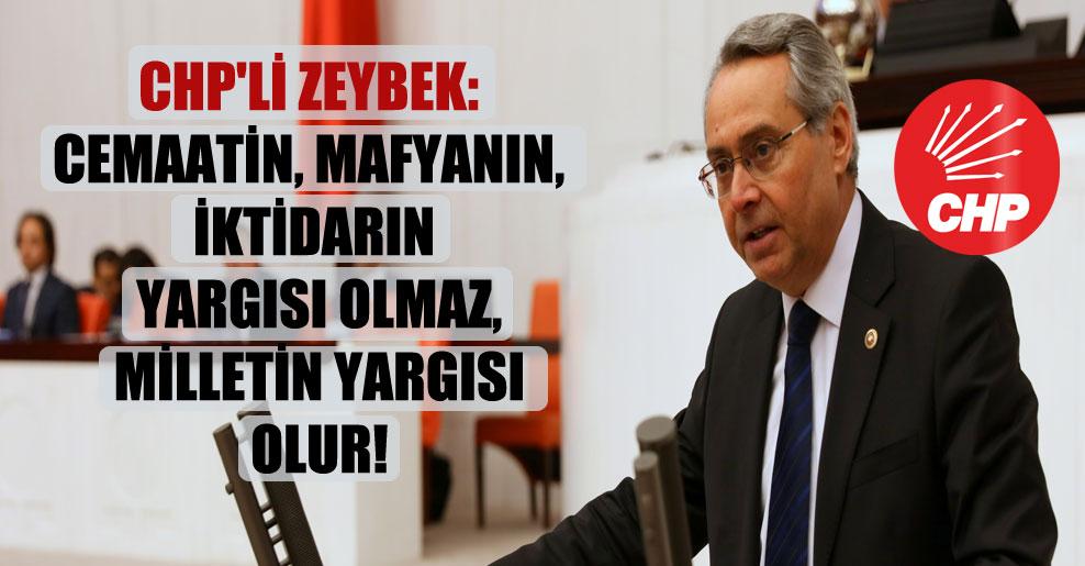 CHP'li Zeybek: Cemaatin, mafyanın, iktidarın yargısı olmaz, milletin yargısı olur!