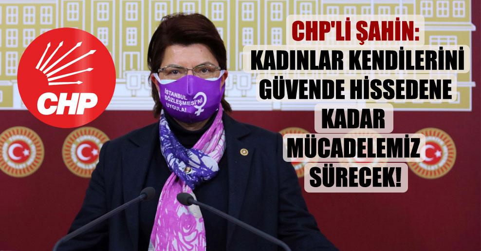 CHP'li Şahin: Kadınlar kendilerini güvende hissedene kadar mücadelemiz sürecek!