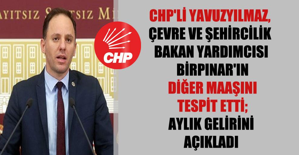 CHP'li Yavuzyılmaz, Çevre ve Şehircilik Bakan Yardımcısı Birpınar'ın diğer maaşını tespit etti; aylık gelirini açıkladı