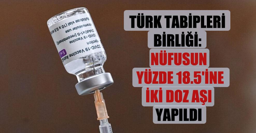 Türk Tabipleri Birliği: Nüfusun yüzde 18.5'ine iki doz aşı yapıldı