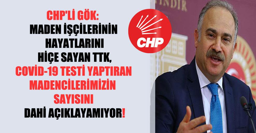 CHP'li Gök: Maden işçilerinin hayatlarını hiçe sayan TTK, Covid-19 testi yaptıran madencilerimizin sayısını dahi açıklayamıyor!