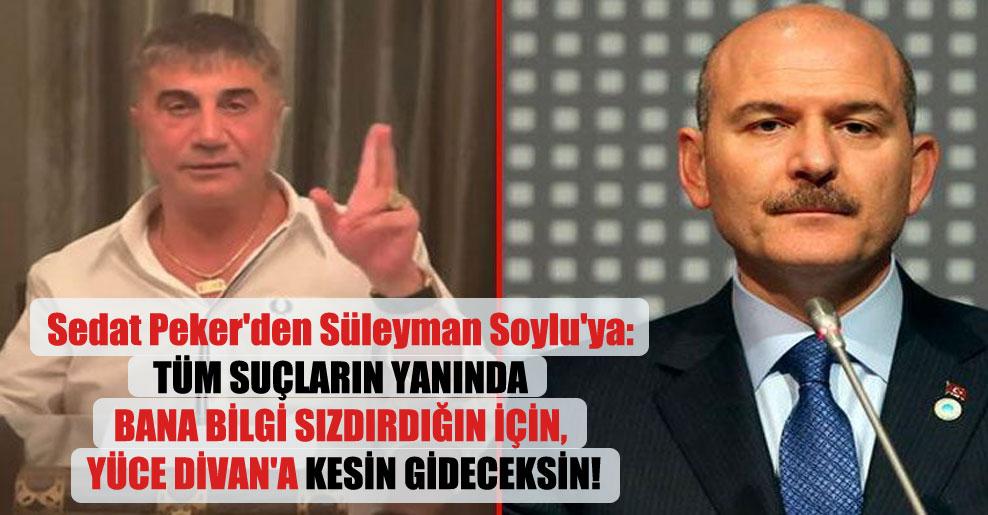 Sedat Peker'den Süleyman Soylu'ya: Tüm suçların yanında bana bilgi sızdırdığın için, Yüce Divan'a kesin gideceksin!