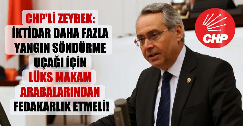 CHP'li Zeybek: İktidar daha fazla yangın söndürme uçağı için lüks makam arabalarından fedakarlık etmeli!