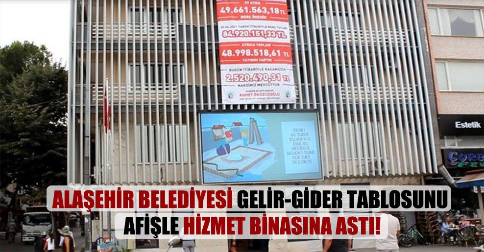 Alaşehir Belediyesi gelir-gider tablosunu afişle hizmet binasına astı!
