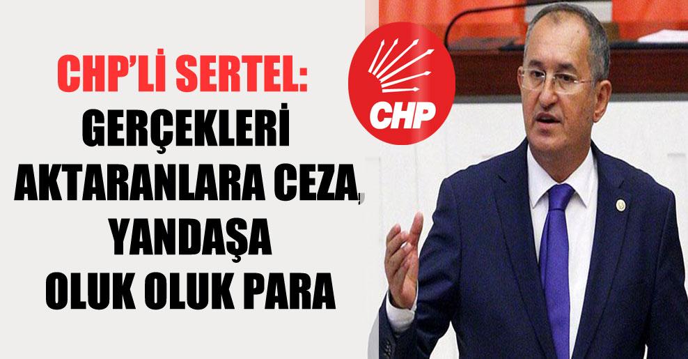 CHP'li Sertel: Gerçekleri aktaranlara ceza, yandaşa oluk oluk para