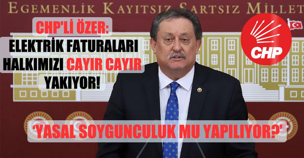 CHP'li Özer: Elektrik faturaları halkımızı cayır cayır yakıyor!
