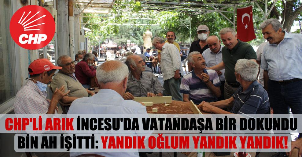 CHP'li Arık İncesu'da vatandaşa bir dokundu bin ah işitti: Yandık oğlum yandık yandık!