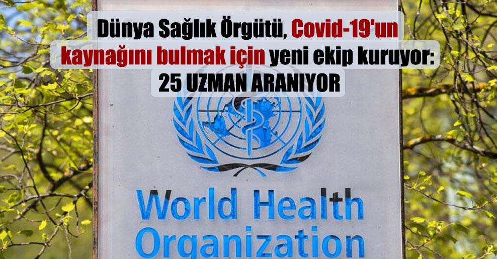 Dünya Sağlık Örgütü, Covid-19'un kaynağını bulmak için yeni ekip kuruyor: 25 uzman aranıyor