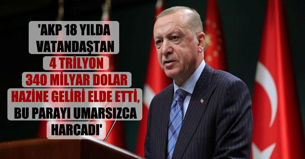 'AKP 18 yılda vatandaştan 4 trilyon 340 milyar dolar hazine geliri elde etti, bu parayı umarsızca harcadı'