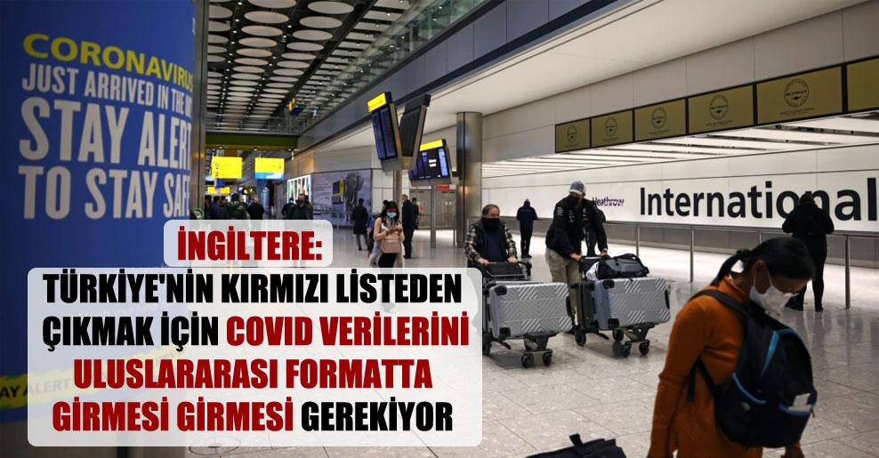 İngiltere: Türkiye'nin kırmızı listeden çıkmak için Covid verilerini uluslararası formatta girmesi girmesi gerekiyor