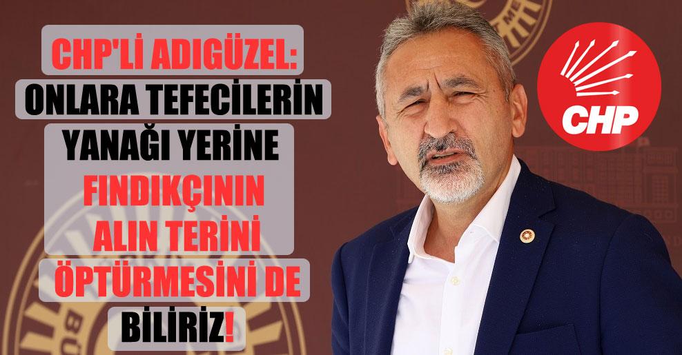 CHP'li Adıgüzel: Onlara tefecilerin yanağı yerine fındıkçının alın terini öptürmesini de biliriz!