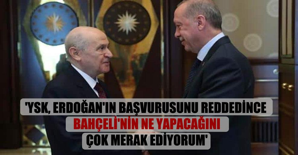 'YSK, Erdoğan'ın başvurusunu reddedince Bahçeli'nin ne yapacağını çok merak ediyorum'