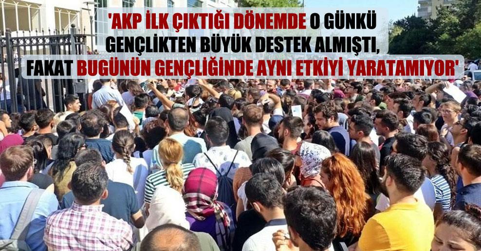 'AKP ilk çıktığı dönemde o günkü gençlikten büyük destek almıştı, fakat bugünün gençliğinde aynı etkiyi yaratamıyor'