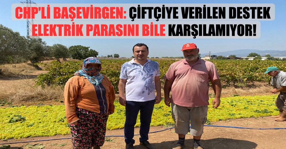 CHP'li Başevirgen: Çiftçiye verilen destek elektrik parasını bile karşılamıyor!