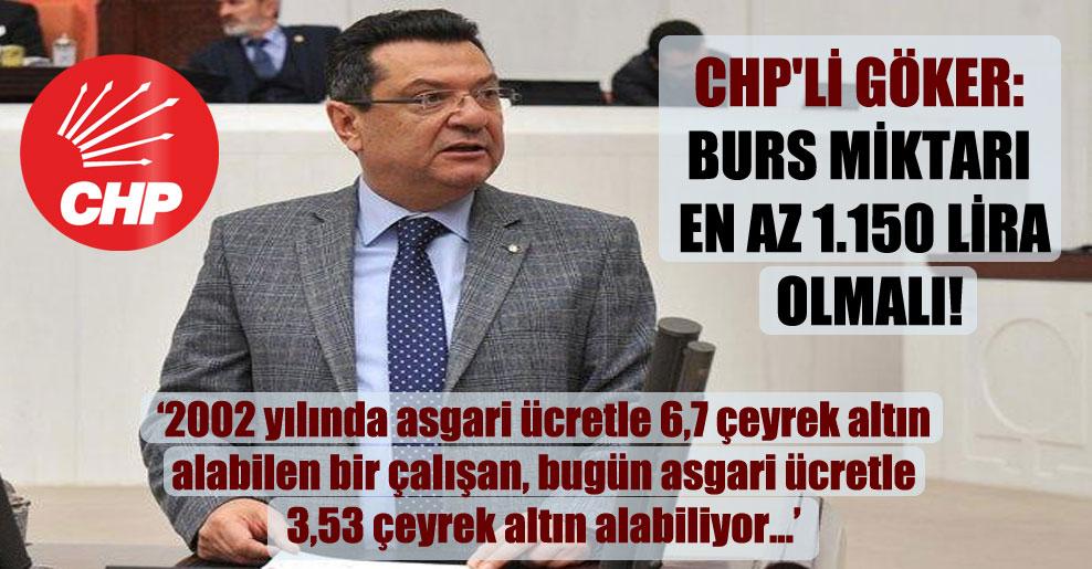 CHP'li Göker: Burs miktarı en az 1.150 lira olmalı!