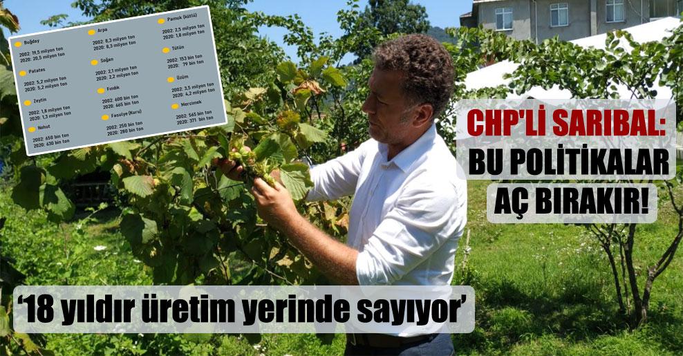 CHP'li Sarıbal: Bu politikalar aç bırakır!